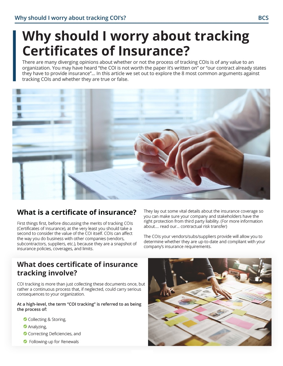 Why should I worry about tracking Certificates of Insurance?