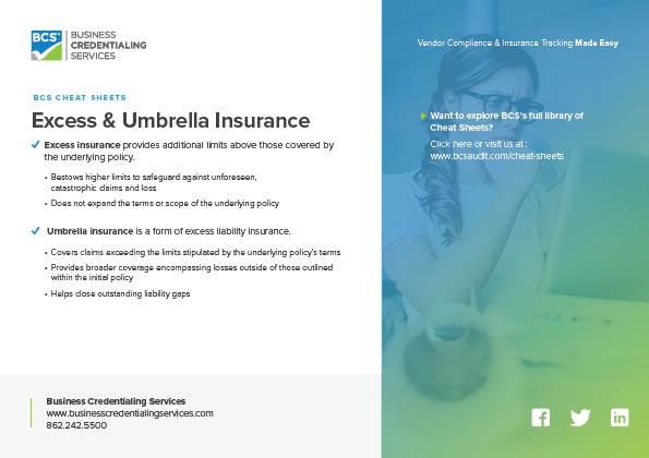 BCS Cheat Sheet Excess & Umbrella Insurance Cover