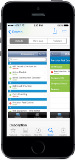 The companies page of the Certus Mobile App for tracking certificates of insurance