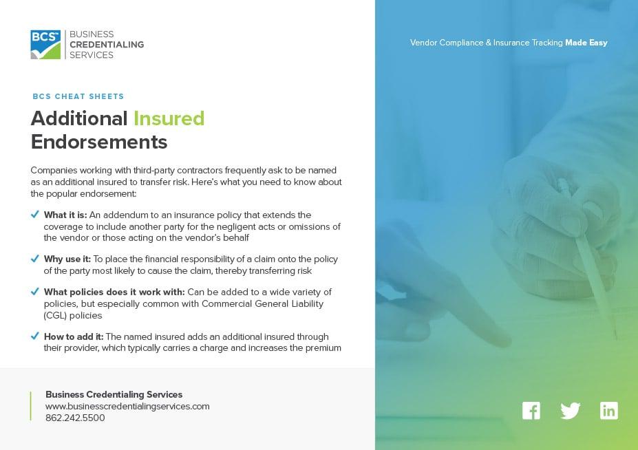 BCS CHEAT SHEETS Additional Insured Endorsements