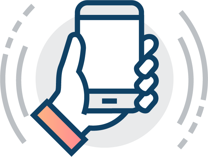 vector of hand holding phone