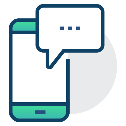 vector of phone with chat bubble sticking out