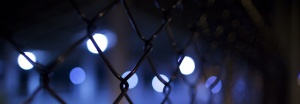 chain link fence close-up in dark