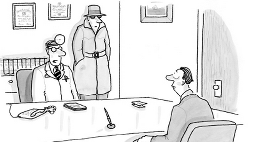 cartoon stranger standing in room with doctor and patient