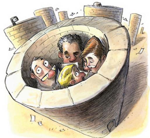 cartoon people hiding in a well